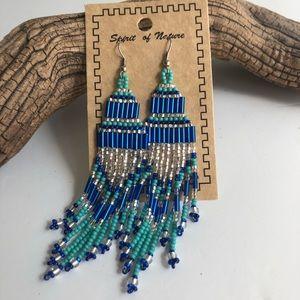 Blue, turquoise and silver Boho dangle earrings